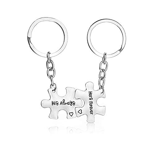XYBAGS His Always Hers Forever Couples Keychain, 2PCS Romantic Key Chain Gifts for Boyfriend Girlfriend Couple]()