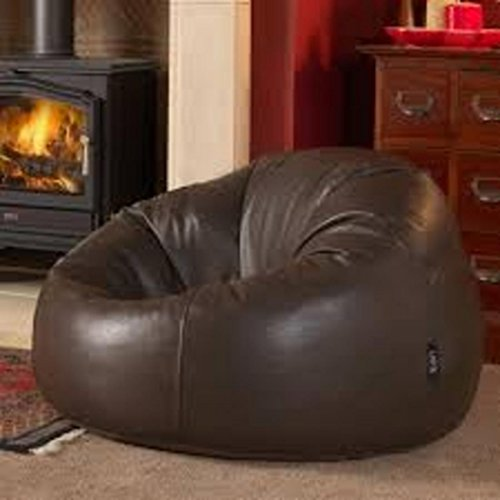 Ink Craft Leatherette Dark Chocolate Brown Retro Classic Bean Bag Chair Cover Only - (XL for Kids and Teen) (Leather Brown Bag Bean)