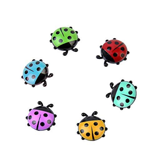 Sikye Fridge Sticker,6Pcs Mini Ladybug Cute Cartoon Refrigerator Magnetic Stickers Magnets Creative Wall Art Decor