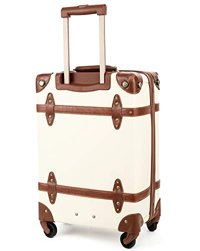 Vintage Luggage Carryon Suitcase Travel - HoJax Classic Trolley Luggage with Spinner Wheels, TSA Lock, Lightweight, 20 inch, Beige