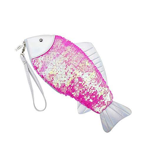 Creative Hologram Fish Shape Scale Dizzling Sequins Makeup Bag Comestic Storage Pouch Case Clutch Wallet Coin Purse -