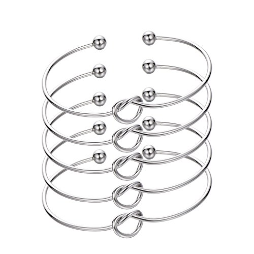 - Ikooo Wedding Gift Bridesmaid Bracelet Jewelry Tone Love Knot Cuff for Bridal shower Bachelorette Party with Bride Tribe No Crease Hair tie (5 Silver)