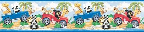 - Snap Kids SR129414 Safari Wall Border, Red and Blue, 5 Inch