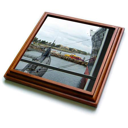(3dRose Jos Fauxtographee- Queen Mary Dock - Some boats docked near the Queen Mary in California - 8x8 Trivet with 6x6 ceramic tile (trv_308211_1))