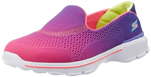 Skechers Kids Go Walk 3 Slip On (Little Kid/Big Kid), Purple/Neon Pink, 1 M US Little Kid (Skechers Go Walk With Memory Foam)