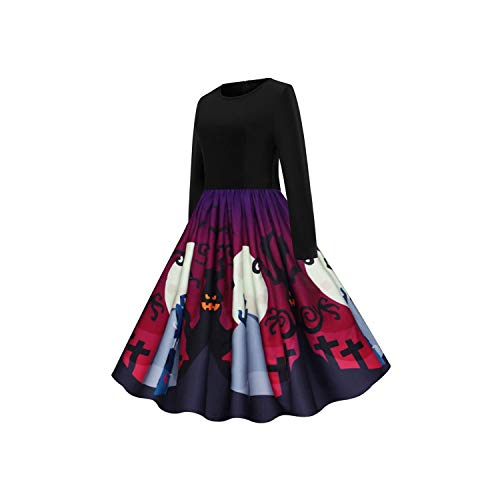 Women Vintage Long Sleeve Halloween Housewife Party Prom Dress Plus Size Ladies Dress ()