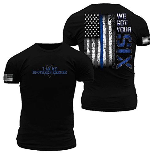 We Got Your Six Thin Blue Line Flag Premium Athletic Fit T Shirt (Medium)