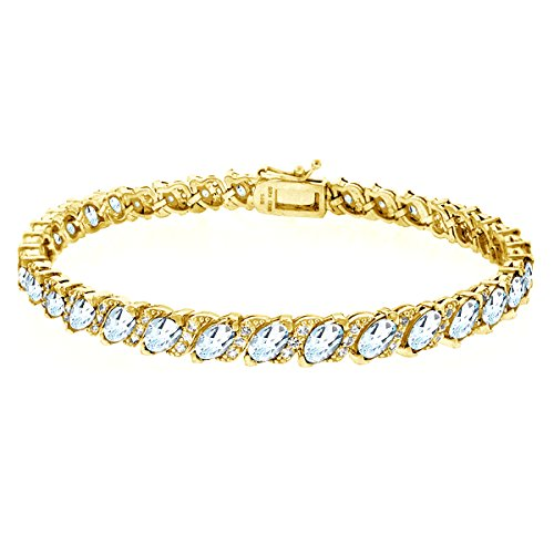 GemStar USA Gold Flashed Sterling Silver Blue Topaz Marquise-Cut Tennis Bracelet with White Topaz - Pendant Topaz Blue Bracelet