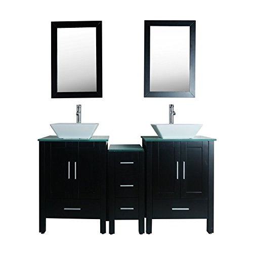 Goodyo 60inch Modern Bathroom Vanity Cabinet Set with Glass Countertop,Double Sink, (48' Double Bathroom Vanity)