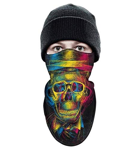 srygjukuu Tough Headwear Colorful Death Skull Windproof Balaclava-Ski Winter Face Mask for Motorcycle Cycling Bike Bandana Hiking Snowboarding Skiing