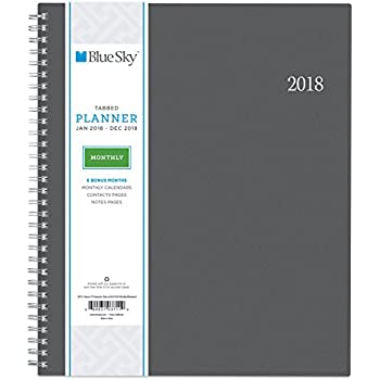 """Blue Sky 2018 Monthly Planner, Twin-Wire Binding, 8"""" x 10"""", Enterprise"""