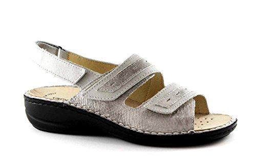 Grünland DARA SE0061 sandalias de plata gris oscuro mujer desgarro plantilla extraíble Grigio