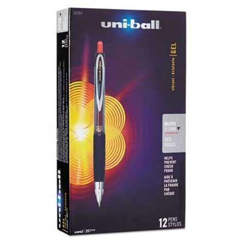 (uni-ball Signo Gel 207 Roller Ball Retractable Gel Pen, Red Ink, Micro Fine,)