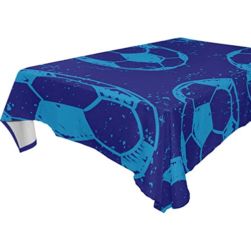 - Love Needs Rectangular Tablecloth Royal Blue Sport Soccer Pattern Table Cloth 59