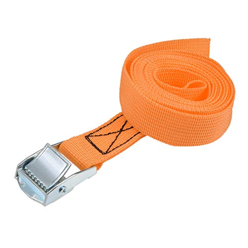 uxcell 荷物ストラップ ラチェット式 ベルト 荷物固定ロープ 荷物落下防止 カムバックル付き ロード250Kg 2Mx25mm オレンジ