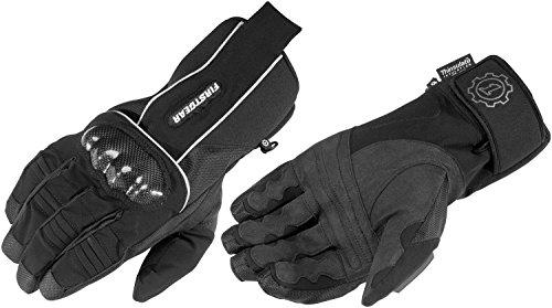 (FirstGear Kathmandu Men's Waterproof/Breathable Textile Street Motorcycle Gloves - Black - Small)