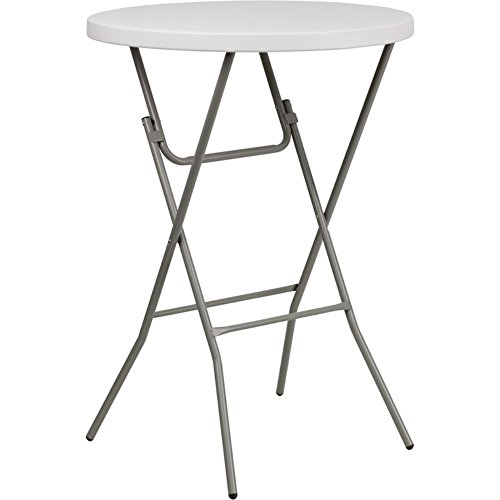 Flash Furniture 32'' Round Granite White Plastic Bar Height Folding - 36 Inch Table White Round Top