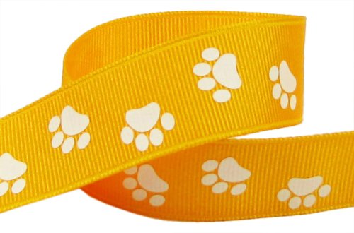 Price comparison product image HipGirl Brand Printed Grosgrain Ribbon, 5 -Yard 7/8-Inch School Paw Prints, Yellow Gold/White