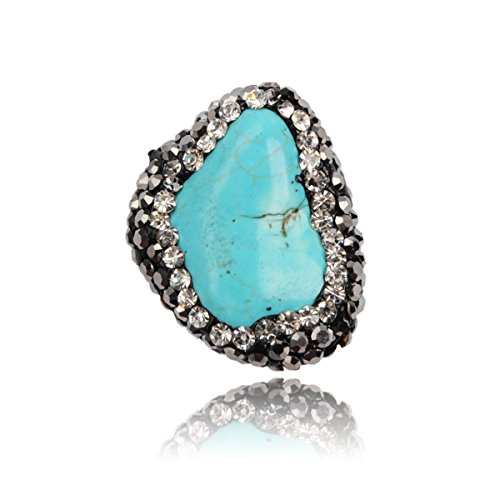 ZENGORI 2PCS Freeform Howlite Natural Druzy Turquoise Beads With Zircon Side Hole Pendant for Necklace (Pendant Freeform Turquoise Bead)