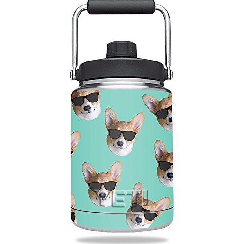 Skin For Yeti Rambler Half Gallon Jug – Cool Corgi | MightySkins Protective, Durable, and Unique Vinyl Decal wrap cover | Easy To Apply, Remove, and Change Styles | Made - Rambler Sunglasses
