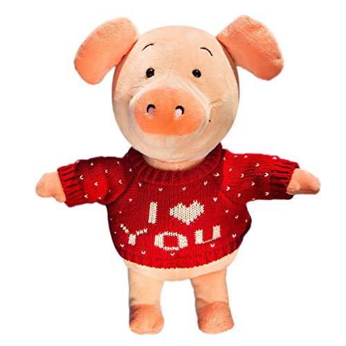 Birdfly Cute Pig Toy Love Sweater 30CM Soft Plush Stuffed Animal Doll -