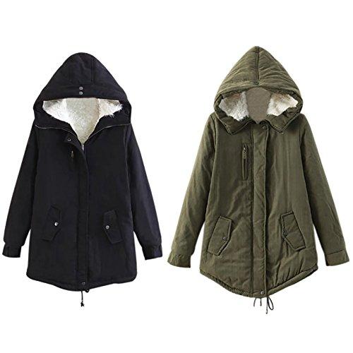Amazon.com: iShine Women Warm Winter Cotton Fleece Lined Parka Hooded Jacket Coat: Clothing