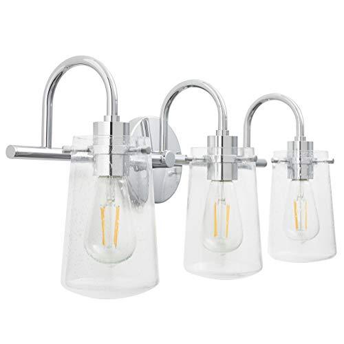 (Lentia 3 Light Hallway Wall Sconce | Chrome Bathroom Vanity Light with LED Bulb)