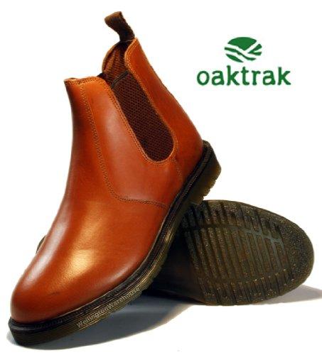 Oaktrak - Botines chelsea de cuero hombre, color marrón, talla 44
