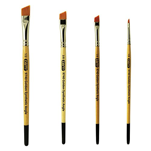 ZEM BRUSH Student Golden Synthetic Angle Shaders Set Sizes 1/8