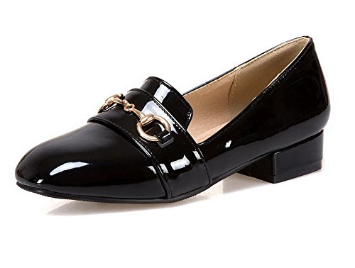 VogueZone009 Damen Rund Zehe Niedriger Absatz Blend-Materialien Rein Ziehen  auf Pumps Schuhe Schwarz