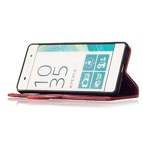 Funda Sony Xperia XA [Happon] Ranuras para Tarjetas y Billetera Carcasa PU Libro de Cuero Flip Leather Cierre Magnético Soporte Plegable para Sony Xperia XA (Burdeos) Rojo
