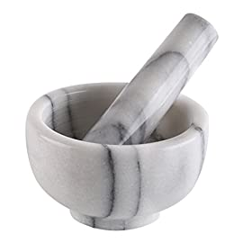 Greenco white marble mortar and pestle 1 marble mortar and pestles for crushing herbs, spices and pills. All pieces constructed from solid and of beautiful white marble with grey accentsg. Unpolished natural rough interior for better grinding.