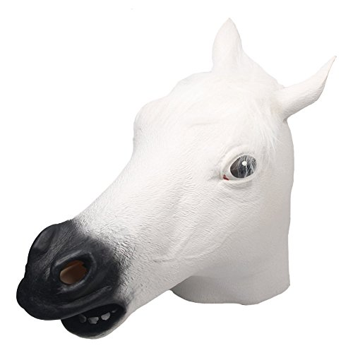 [Queenshiny Latex Animal Head Mask Halloween Cosplay Party Costume Fancy Dress (One size, White] (Horse Head Costume)