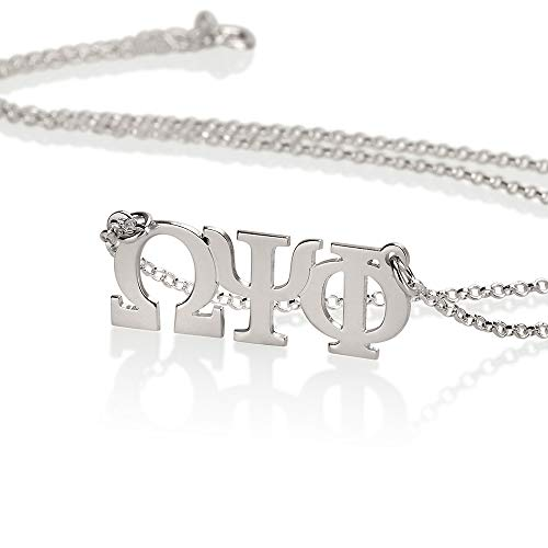 Omega Necklace Personalized (Sorority Gifts, Sorority Necklace, Personalized Necklace - Greek Initial Necklace fraternity Charm, 925 Sterling silver charm)