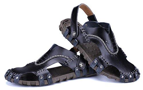 CYGG Casuales Hombre Pantuflas Libre Y Uso De Familia Blue Zapatos Para De Al Sandalias Playa Cuero Aire Sandalias De Dual Cuero 8pEBf
