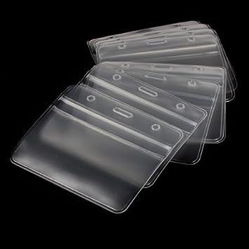 amazoncom eom clear plastic card holder horizontal vinyl business badge holder name tag id card holder 10pcs pack office products - Plastic Card Holder