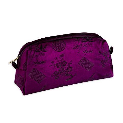 Cosmetic Bag - Silk Jacquard (Fuchsia)