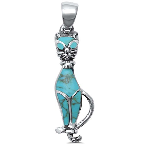 Sterling Silver Trendy! Simulated Abalone Cat Charm (Cat Turquoise Pendant)