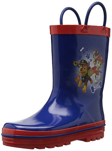 Josmo Character Shoes Boys' Paw Patrol Easy on Loops Rain Boot, Navy/Red, 7/8 Medium US Toddler