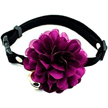 PETFAVORITES™ Designer Wedding Flower Suede Leather Pet Cat Dog Bow Tie Collar Necklace Jewelry with Bell Charm for Pets Cats Medium Large Dogs Female Puppy Yorkie Girl (Purple, Size: 10