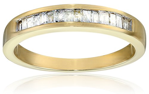 10k Yellow Gold Baguette Channel-Set Diamond Ring (1/5 cttw, J-K Color, I2-I3 Clarity), Size 9 by Amazon Collection