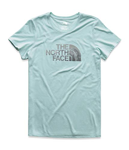 The North Face Women's Short Sleeve Half Dome Tri-Blend Crew Tee, Canal Blue Heather/TNF Black Multi, Size XL