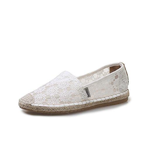 Verano de los Perezoso Resbalón Mocasines Zapatos nuevos de Mujer Las Zapatos Encaje en Un Tul de Plano Zapatos de Señoras de Respirables OBtHnfw