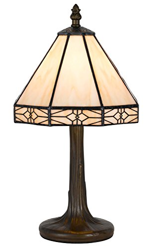 Antique Brass Base - Cal Lighting BO-2385AC Table Lamp with Stained Glass Shades, Antique Brass Finish