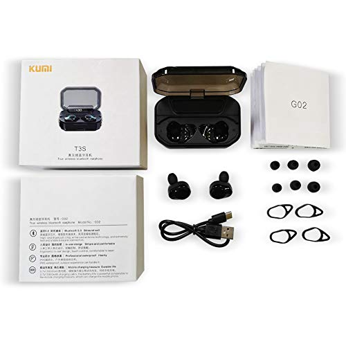 KUMI T3S True Wireless Earbuds - Bluetooth 5.0 6D Surround Bass Headphones in-Ear Cordless IPX6 Waterproof Earphones, Touch Control, Built-in Mic with LED Display Charging Case, Auto Pairing, Black