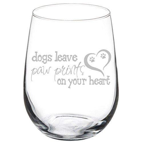 Stemless Wine Glass - Dogs Leave Paw Prints on Your Heart (17 ounce)