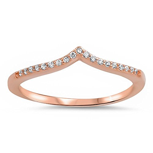 (Oxford Diamond Co Rose Gold Plated V Shape Cubic Zirconia .925 Sterling Silver Ring Size)