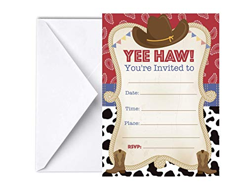 Cowboy Themed First Birthday (Cowboy Invitations for Birthday Party 12pcs, 5x7, Western Baby Shower Themed, Howdy Rodeo)
