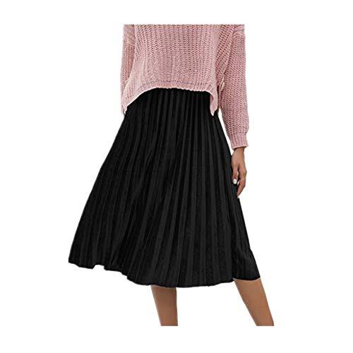 Women Pleated Skirt Fashion Solid High Waist Casual Elegant Elastic Midi Skirt
