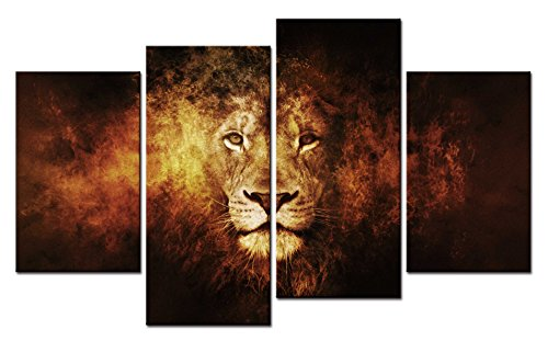 SmartWallArt - Animal Paintings Wall Art Vintage Golden Lion Face Portrait 4 Pieces Picture Print on Canvas for Modern Home - Frames Best Asian For Faces